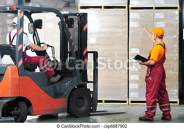 warehouse works (forklift and workers) - csp6687902