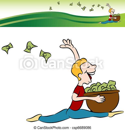 Man Running Tossing Money - csp6689086