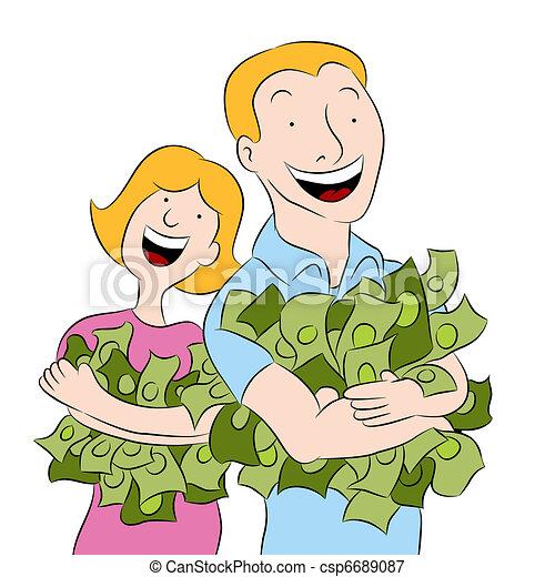 People Holding Piles of Money - csp6689087