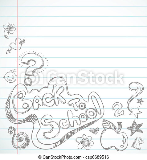back to school - notebook with doodles - csp6689516