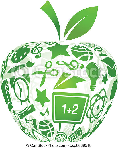 back to school - apple with education icons - csp6689518