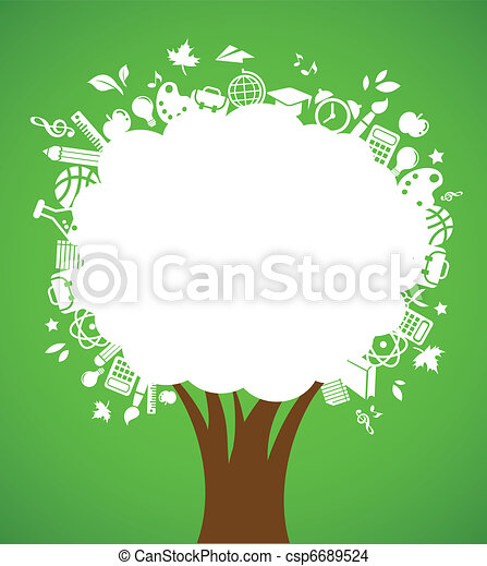back to school - tree with education icons - csp6689524
