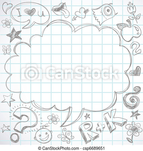 back to school - notebook with doodles - csp6689651