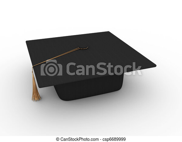 Master's cap for graduates isolated on white background. 3D - csp6689999