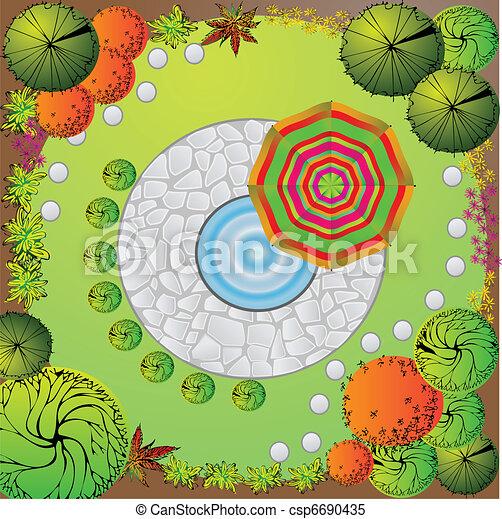 Plan of garden - csp6690435