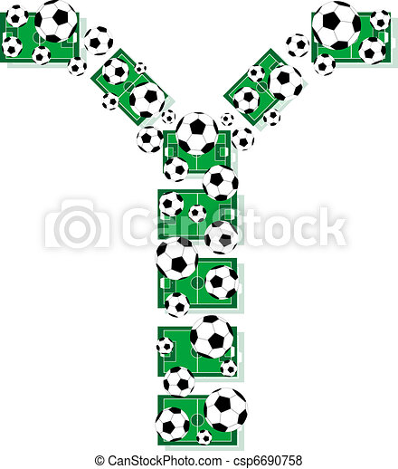 Y, Alphabet Football letters made of soccer balls and fields - csp6690758