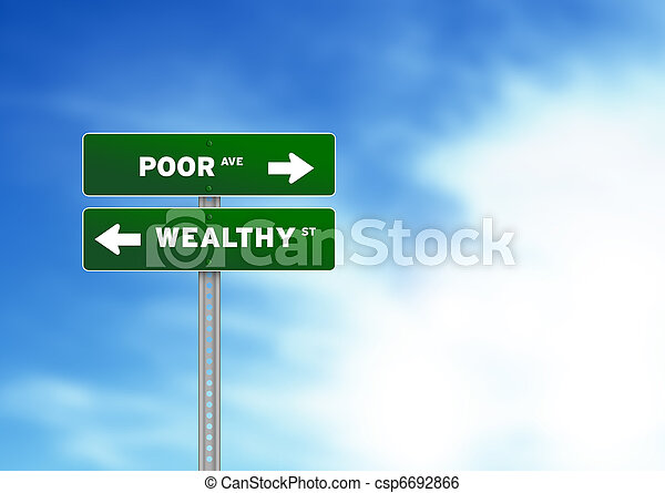 Poor and wealthy Road Sign - csp6692866