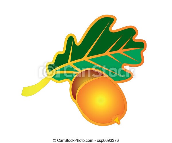 icon in the form of oak leaves and acorns - csp6693376