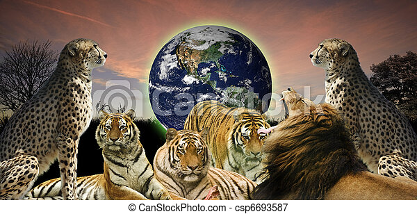 Creative concept image of animal wildlife protecting the planet Earth as it belongs to them as well as humans - csp6693587