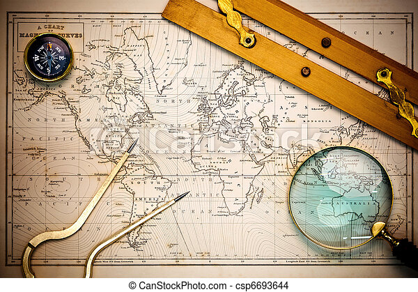Old map and navigational objects. - csp6693644