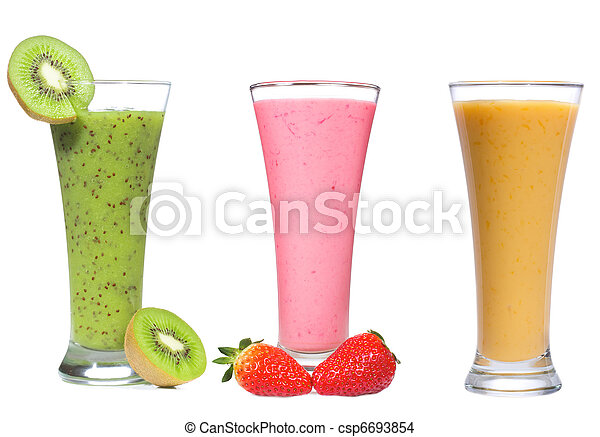different smoothie with fruits and berries - csp6693854