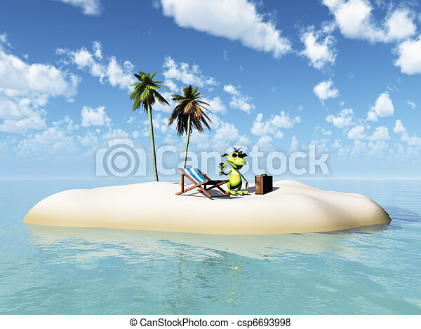 Cute cartoon monster taking vacation on island. - csp6693998