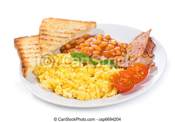 scrambled eggs with bacon and vegetables - csp6694204