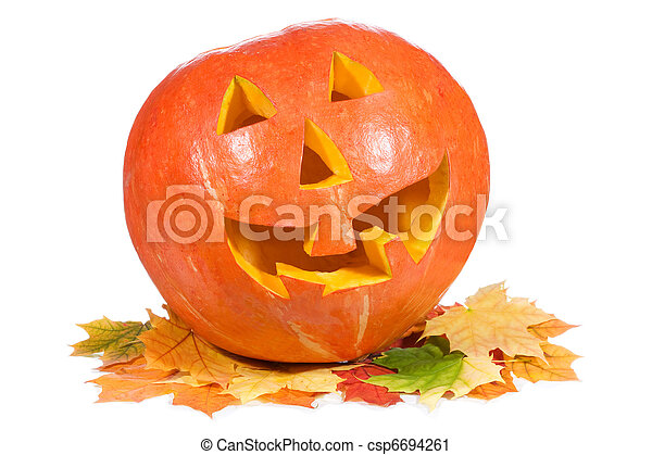 halloween pumpkin with autumn leaves - csp6694261