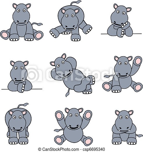 Cute Hippo Set - csp6695340