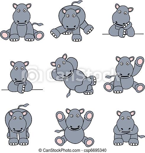 Cute Hippo Set - csp6695340