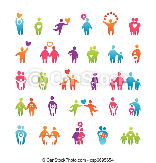 set-icons-people-love-family - csp6695654