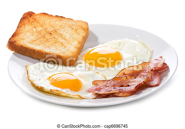 fried eggs with  bacon and toasts - csp6696745