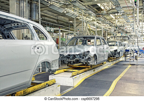 cars in a row at car plant - csp6697298