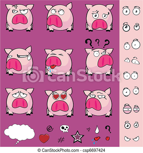 pig ball cartoon set - csp6697424