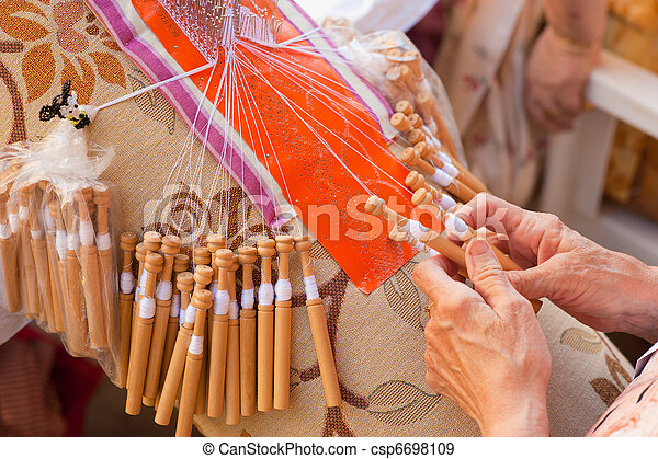 Bobbin lace-making - csp6698109