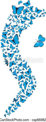 Blue butterflies swarm - csp6698219