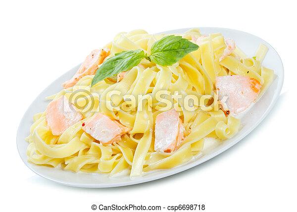 pasta with salmon  - csp6698718