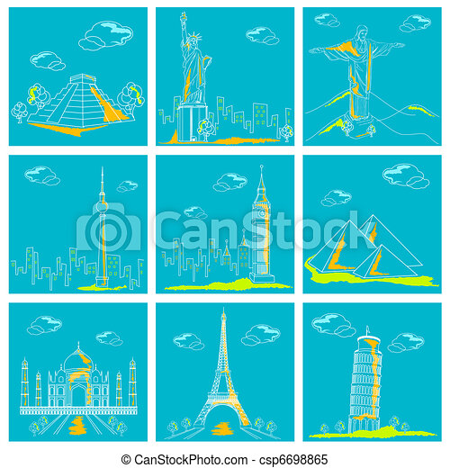Set of Famous Monument around the World - csp6698865