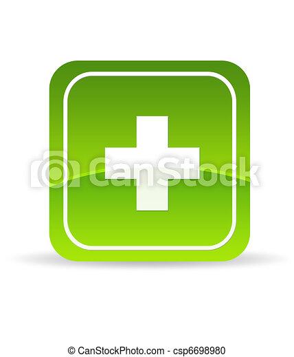 Green Plus Icon - csp6698980