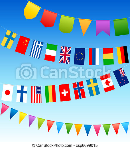 bunting flags and country flags on a blue sky - csp6699015