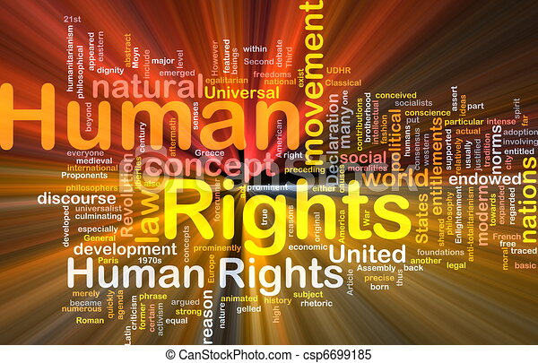 Human rights background concept glowing - csp6699185