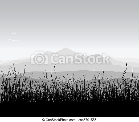Landscape with grass and mountains - csp6701558