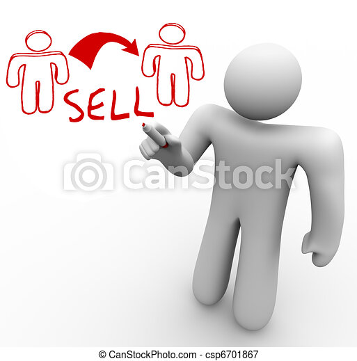 Instructor Draws Sales Diagram One Person Sells to Another - csp6701867