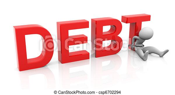3d man and debt - csp6702294