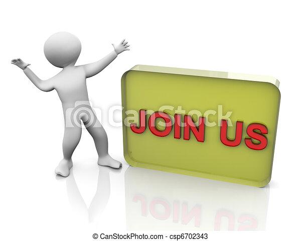3d man join us - csp6702343