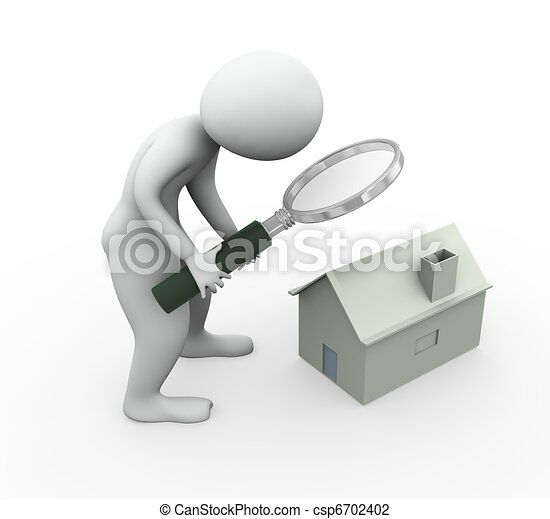 3d man searching house - csp6702402