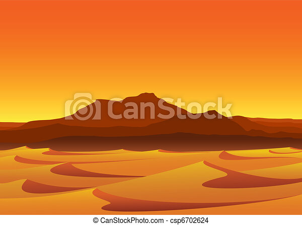 Sunset in Desert - csp6702624