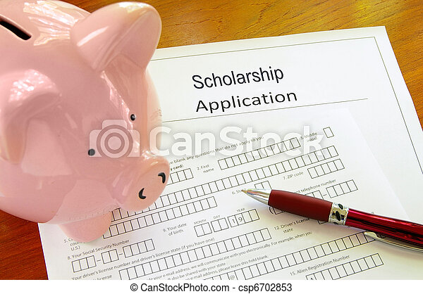 Blank scholarship application form with piggy bank - csp6702853