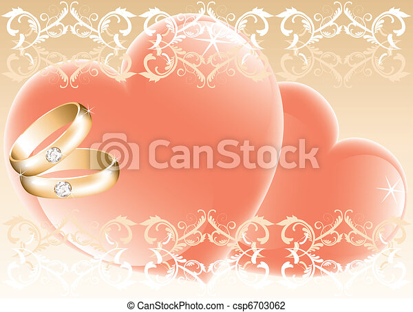 wedding theme with golden rings and hearts - csp6703062