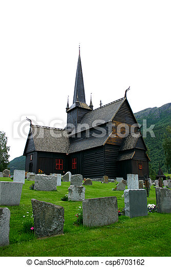 Lom Stave Church and cemetery - vertical - csp6703162