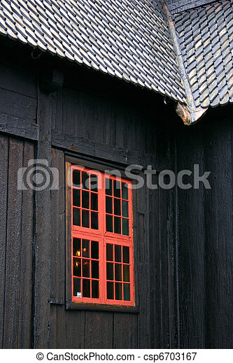 Window of the Lom Stave Church - csp6703167