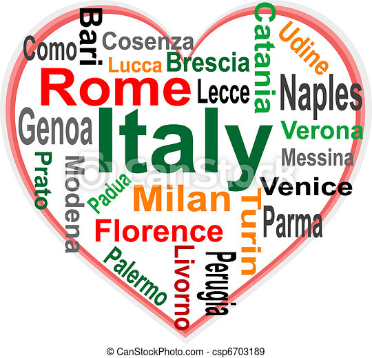 Italy Heart and words cloud with larger cities - csp6703189