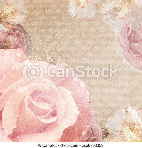 vintage card with roses in pink and beige colors  - csp6703353
