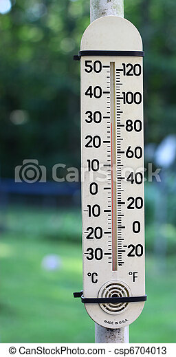 stock photos of an old outdoor mercury thermometer on a