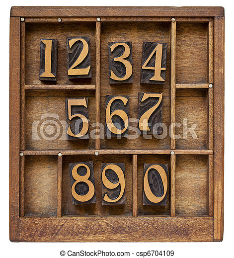 ten arabic numerals from zero to nine, vintage wood letterpress blocks stained by black ink in old typesetter case with dividers - csp6704109