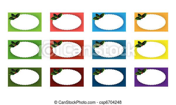 Vettore di agrifoglio variopinto regalo etichette - Agrifoglio immagini a colori ...