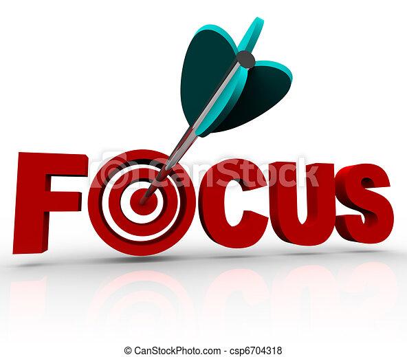 Focus Word with Arrow Hitting Target Bulls-Eye - csp6704318