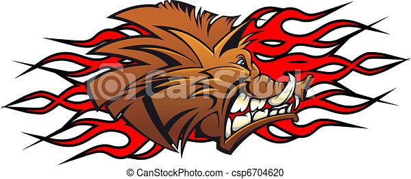 Wild boar cartoon - csp6704620