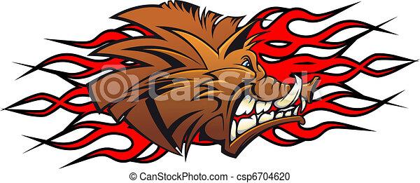 Wild boar cartoon - csp6704620