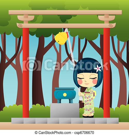 Shinto Shrine Drawing Japanese Girl Praying Little